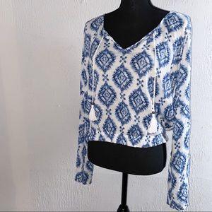 Hollister long sleeve mesh top bell bottom sleeves